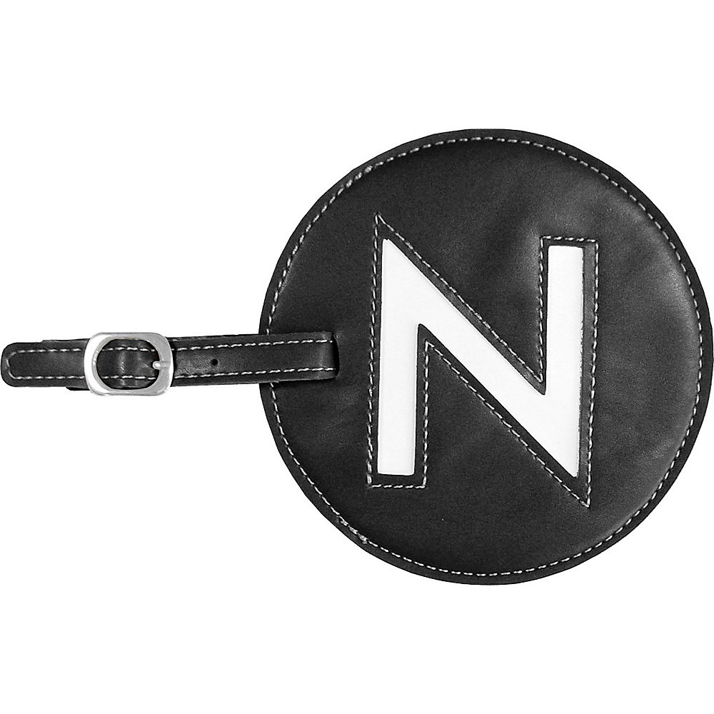 pb travel Initial N Luggage Tag Set of 2 Black pb travel Luggage Accessories