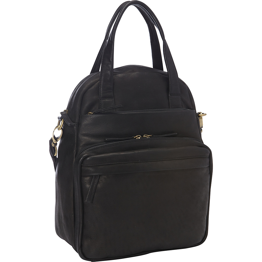Derek Alexander NS Top Zip Multi-Comp Black - Derek Alexander Leather Handbags - Handbags, Leather Handbags