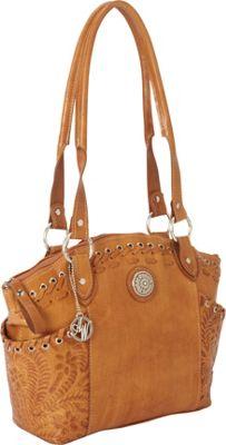 American West Harvest Moon Zip-Top Bucket Tote Golden Tan - American West Leather Handbags