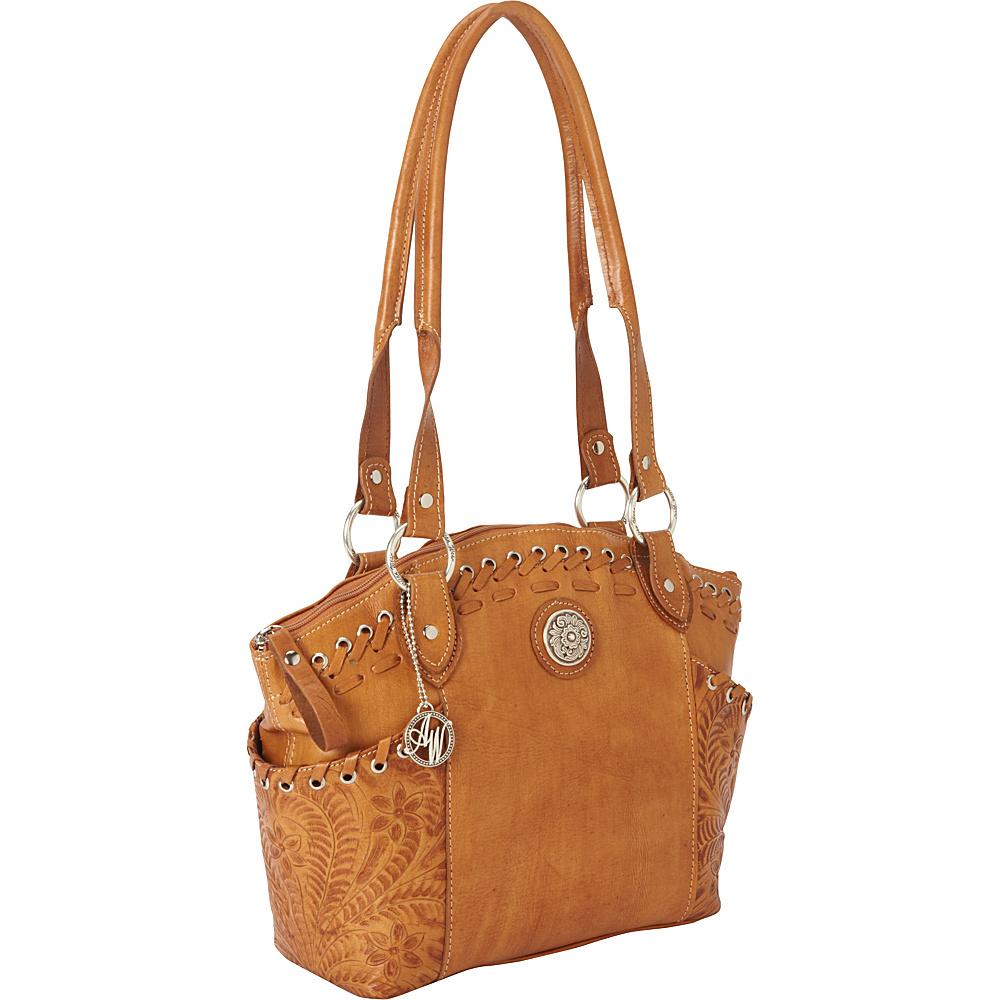 American West Harvest Moon Zip Top Bucket Tote Golden Tan American West Leather Handbags