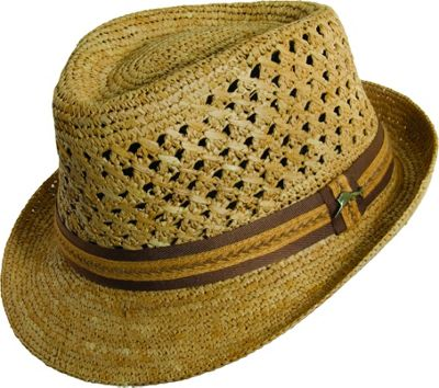 Tommy Bahama Headwear Tommy Bahama Headwear Vent Crochet Raffia Fedora L/XL - Tea - Tommy Bahama Headwear Hats/Gloves/Scarves
