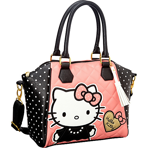 Loungefly Hello Kitty Quilted Pearls w/ White Polka Dots Bag Pink/Black - Loungefly Manmade Handbags