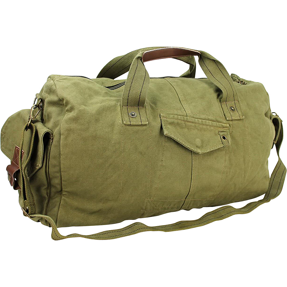 Vagabond Traveler 20 Large Canvas Travel Duffel Bag Military Green - Vagabond Traveler Rolling Duffels - Luggage, Rolling Duffels