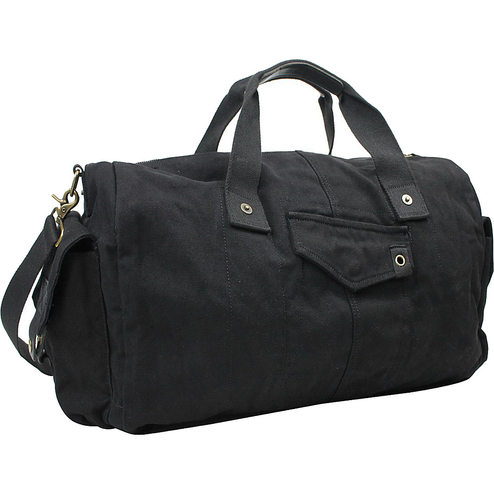 Vagabond Traveler 20 Large Canvas Travel Duffel Bag Black - Vagabond Traveler Rolling Duffels - Luggage, Rolling Duffels