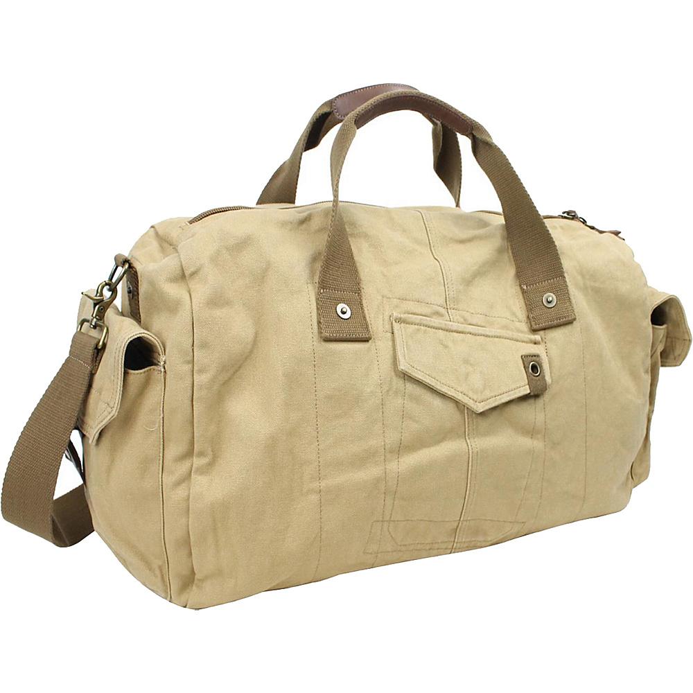 Vagabond Traveler 20 Large Canvas Travel Duffel Bag Khaki - Vagabond Traveler Rolling Duffels - Luggage, Rolling Duffels