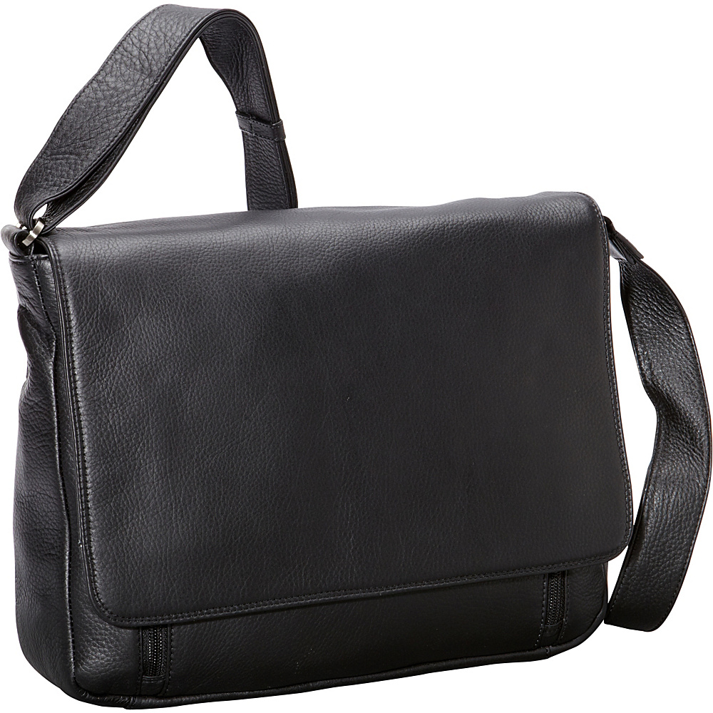 Derek Alexander Multi Compartment with 3/4 Flap Shoulder Bag Black - Derek Alexander Leather Handbags