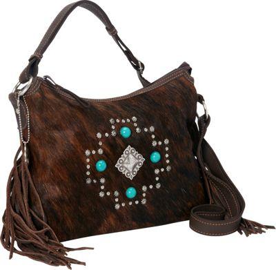 American West Free Spirit Crossbody Chocolate/Brindle Hair - American West Leather Handbags