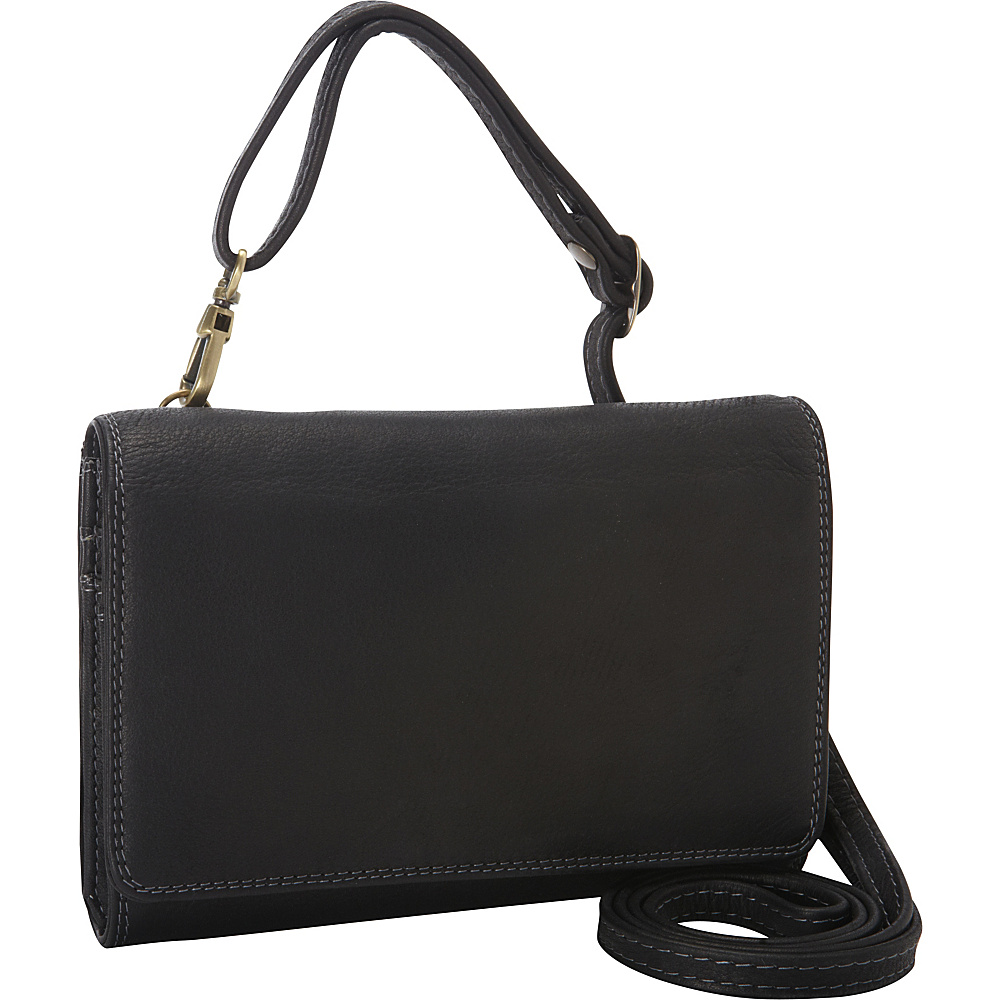 Derek Alexander Small Convertible Multi Organizer Clutch/Bag Black - Derek Alexander Leather Handbags - Handbags, Leather Handbags