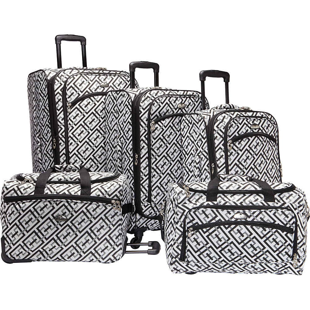 American Flyer Brick Wall Collection 5 Piece Spinner Luggage Set Black & White - American Flyer Luggage Sets