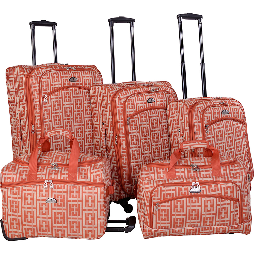 American Flyer Brick Wall Collection 5 Piece Spinner Luggage Set Orange American Flyer Luggage Sets