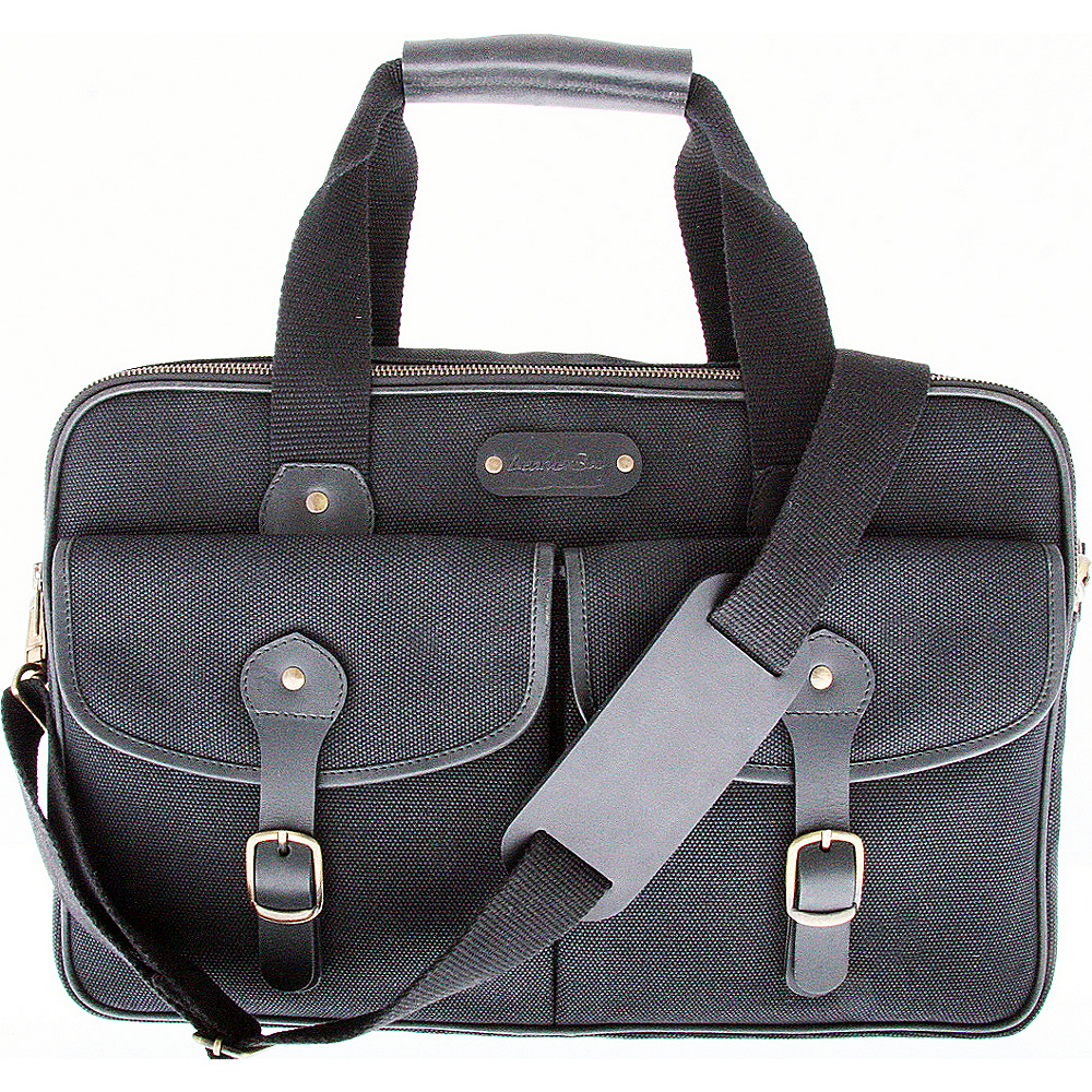 Leatherbay Turin Commuter Briefcase Black - Leatherbay Non-Wheeled Business Cases