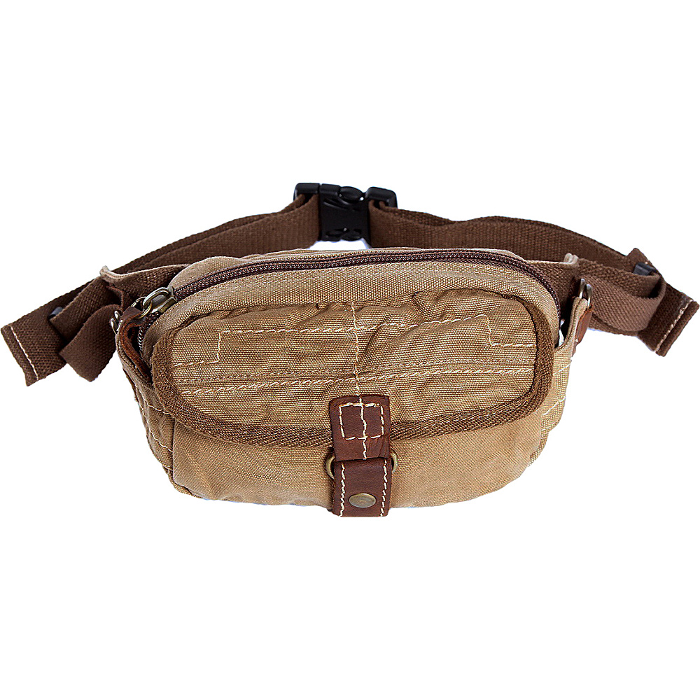 Vagabond Traveler Small 8 Stylish Canvas Waist Bag Khaki - Vagabond Traveler Waist Packs - Backpacks, Waist Packs