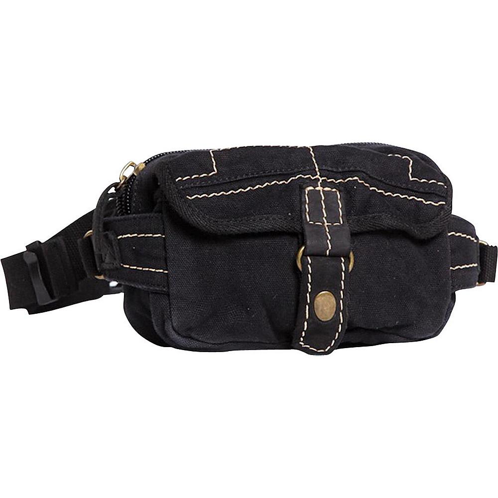 Vagabond Traveler Small 8 Stylish Canvas Waist Bag Black - Vagabond Traveler Waist Packs - Backpacks, Waist Packs