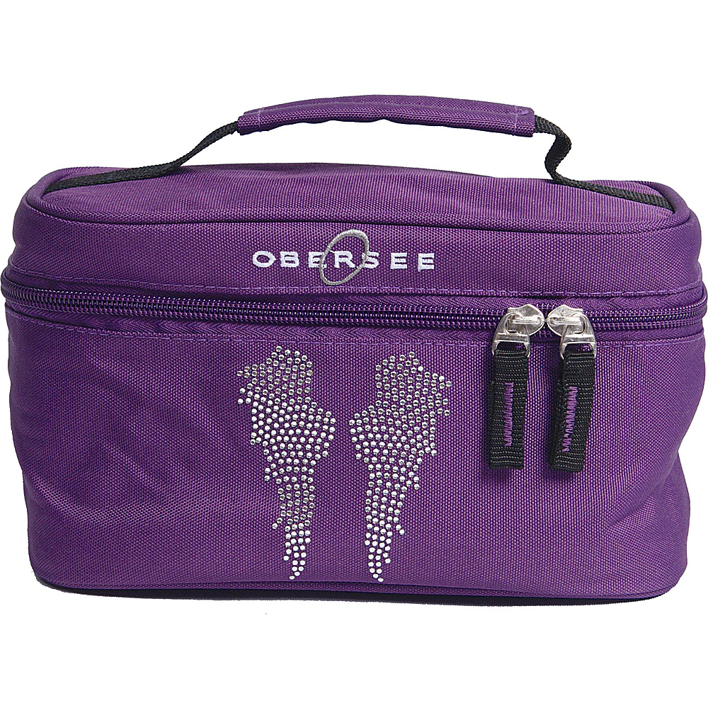 Obersee Kids Toiletry and Accessory Train Case Bag Purple Bling Rhinestone Angel Wings - Obersee Toiletry Kits