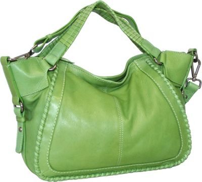 Nino Bossi Woven Grip Handle Satchel Apple Green - Nino Bossi Leather Handbags