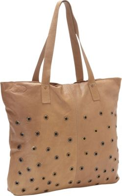 Sharo Leather Bags Brass Dotted Leather Tote Taupe - Sharo Leather Bags Leather Handbags