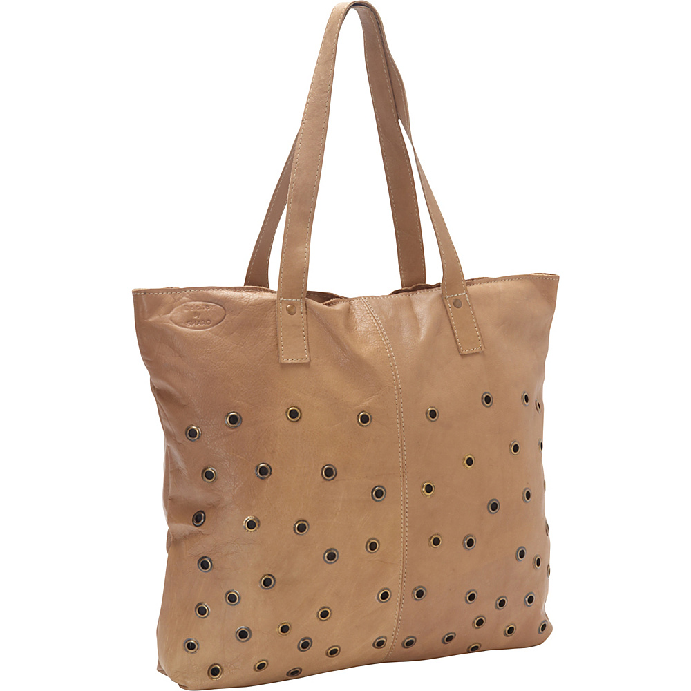 Sharo Leather Bags Brass Dotted Leather Tote Taupe Sharo Leather Bags Leather Handbags