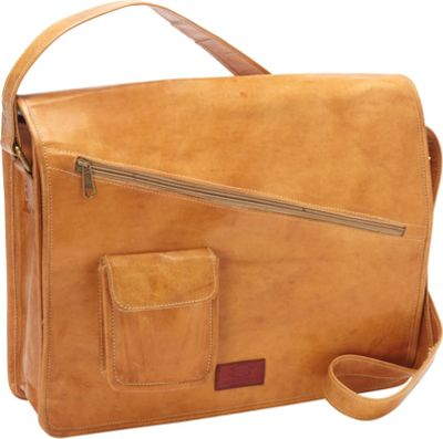 Sharo Leather Bags Sharo Leather Bags Computer Messenger Bag Orange-Yellow - Sharo Leather Bags Messenger Bags