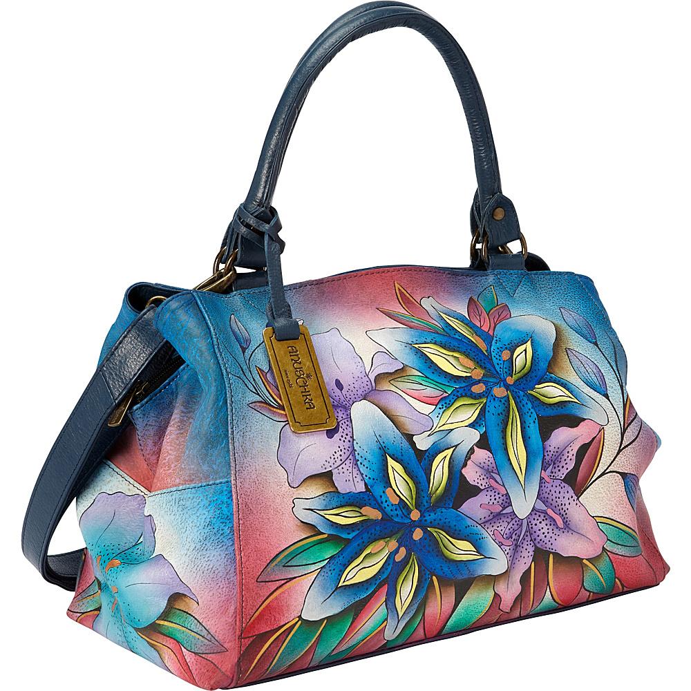 Anuschka Triple Compartment Large Satchel Luscious Lilies Denim - Anuschka Leather Handbags