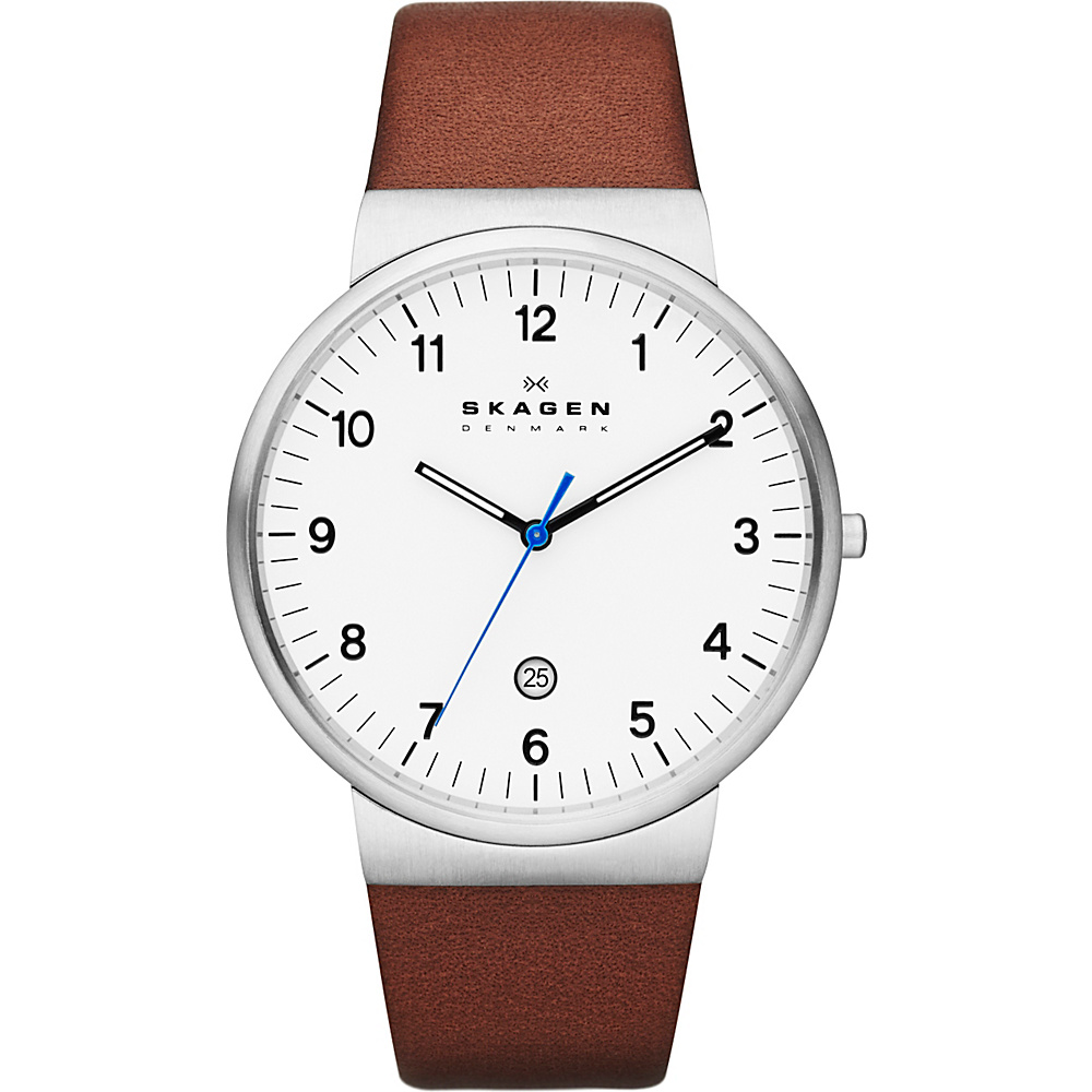 Skagen Klassik Mens Three Hand Leather Watch Dark Brown with Silver Skagen Watches