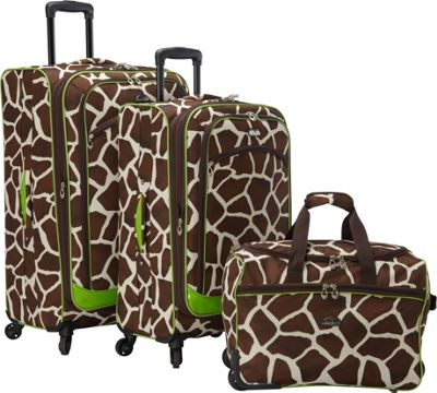 Image of American Flyer AnimalPrint 3-piece Spinner Luggage Set EXCLUSIVE Giraffe Green - American Flyer Luggage Sets