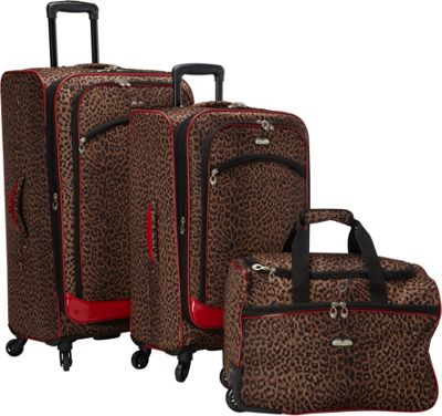 Image of American Flyer AnimalPrint 3-piece Spinner Luggage Set EXCLUSIVE Leopard Red - American Flyer Luggage Sets