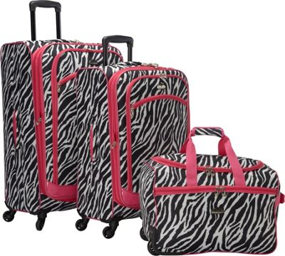 Image of American Flyer AnimalPrint 3-piece Spinner Luggage Set EXCLUSIVE Zebra Pink - American Flyer Luggage Sets