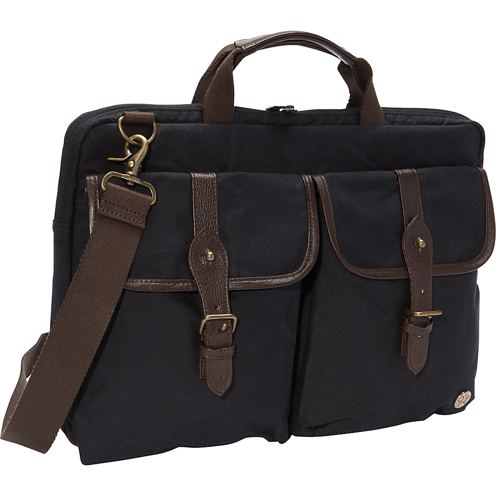 TOKEN Waxed Knickerbocker Laptop Bag 15 Black Dark Brown TOKEN Non Wheeled Business Cases