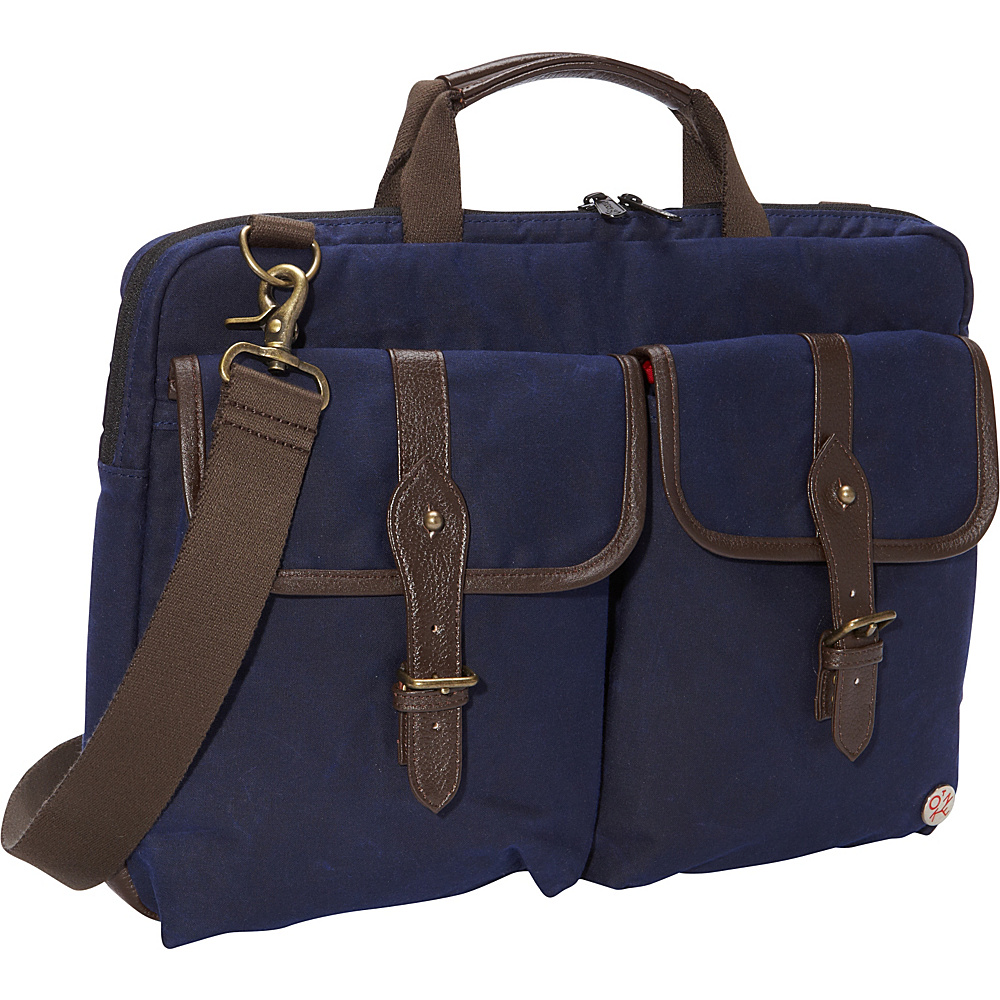 TOKEN Waxed Knickerbocker Laptop Bag 15 Navy Dark Brown TOKEN Non Wheeled Business Cases