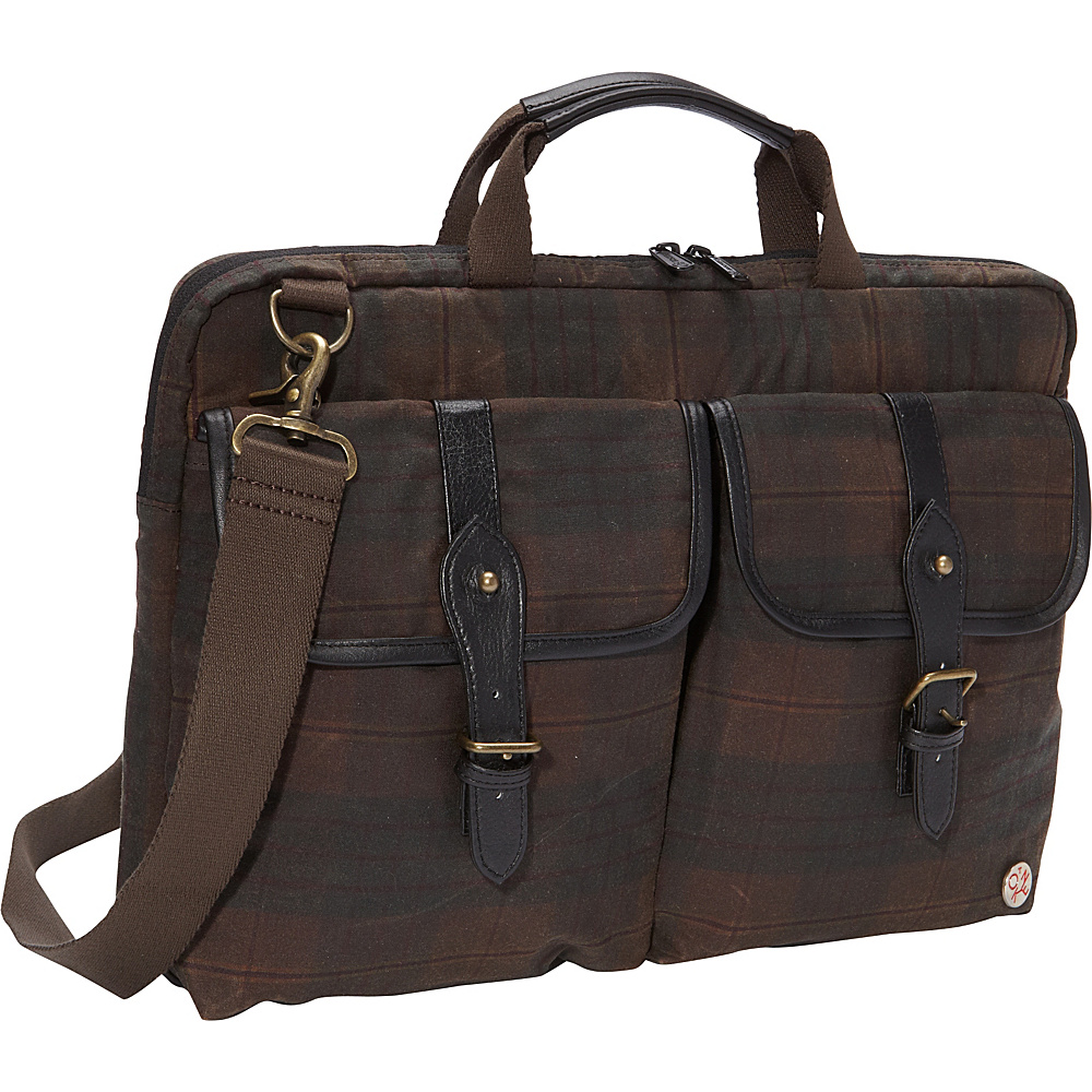 TOKEN Waxed Knickerbocker Laptop Bag 15 Dark Brown Plaid Black TOKEN Non Wheeled Business Cases