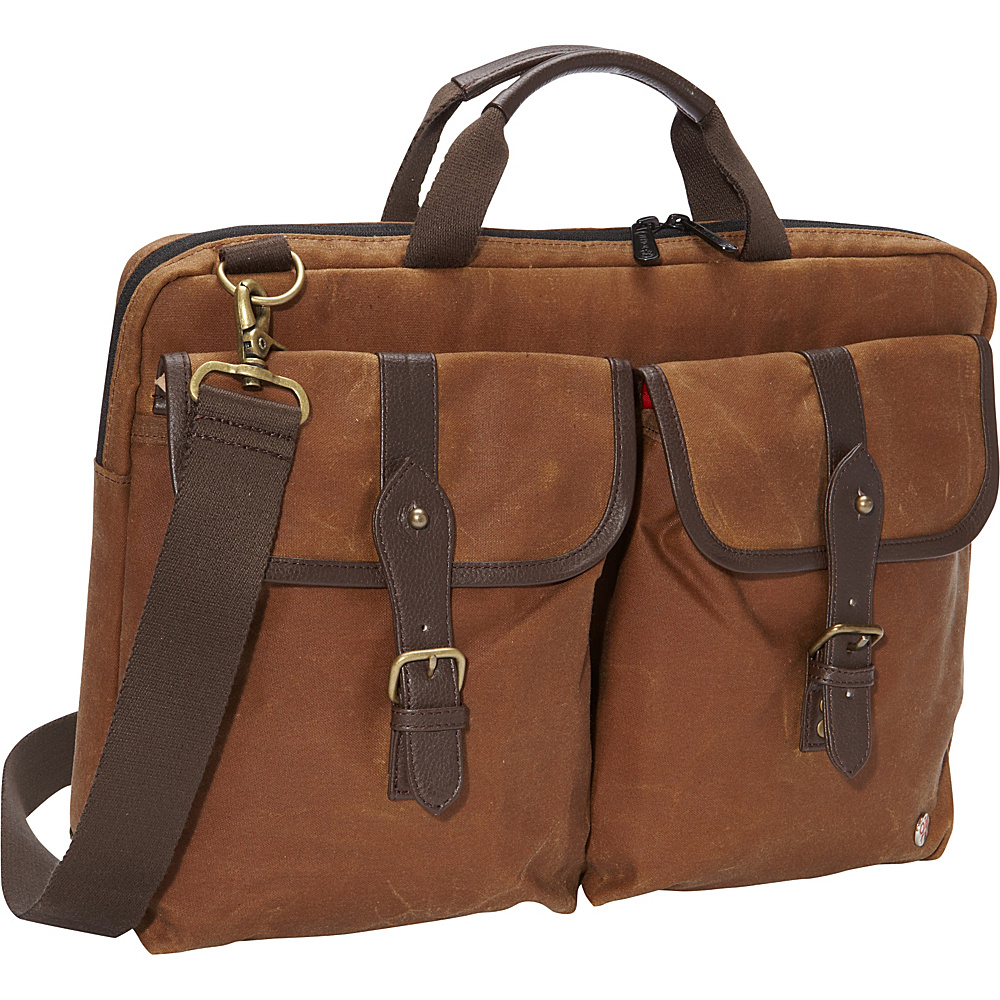 TOKEN Waxed Knickerbocker Laptop Bag 15 Field Tan Dark Brown TOKEN Non Wheeled Business Cases