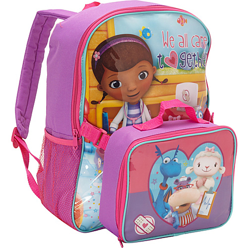 Disney Doc McStuffins Backpack with Lunch Box Purple - Disney School & Day Hiking Backpacks