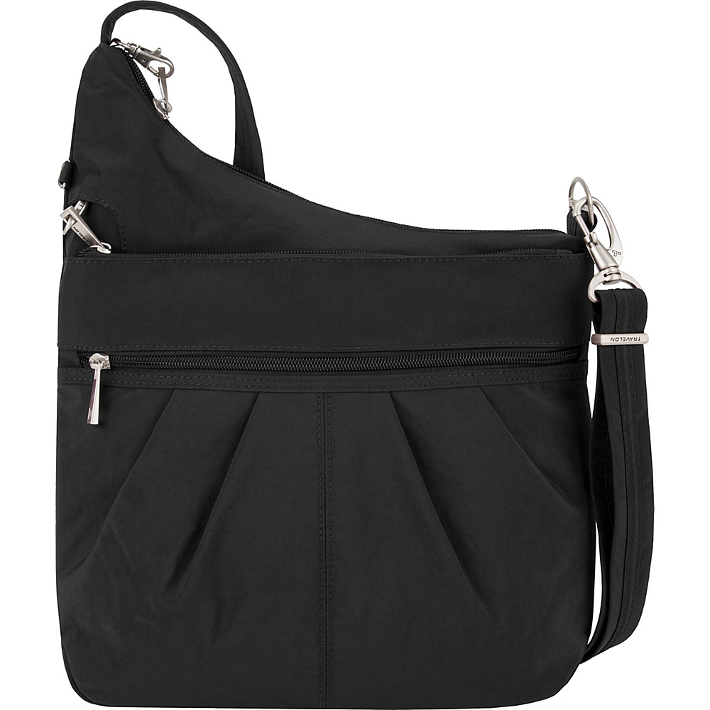 Travelon Anti-Theft Signature 3 Compartment Crossbody Black - Travelon Fabric Handbags - Handbags, Fabric Handbags