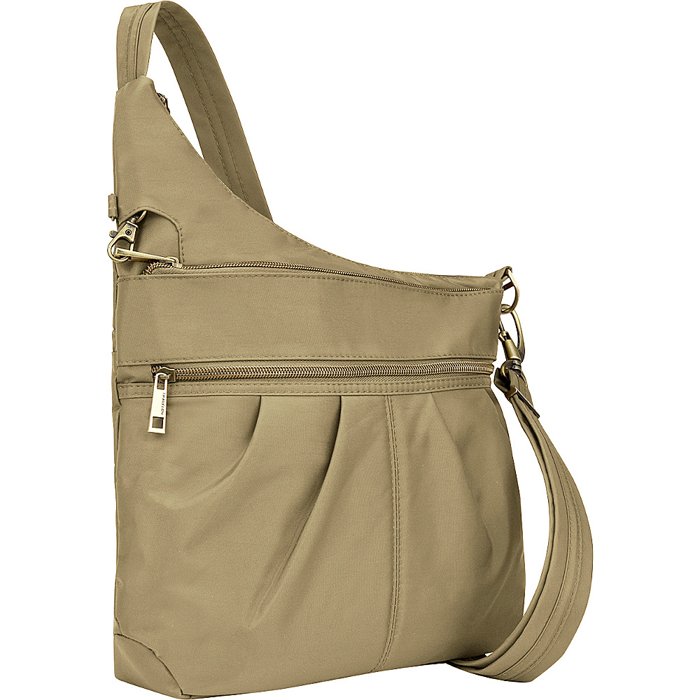 Travelon Anti-Theft Signature 3 Compartment Crossbody Khaki - Travelon Fabric Handbags - Handbags, Fabric Handbags