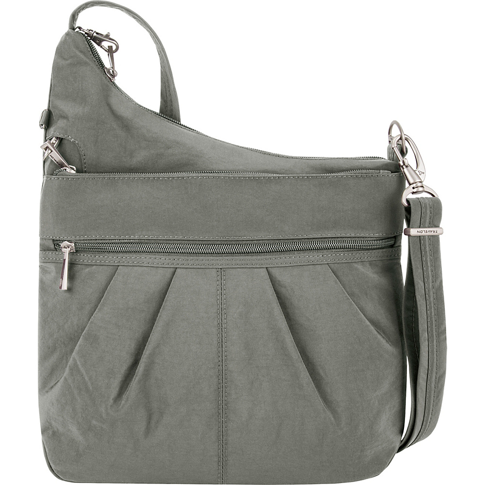 Travelon Anti-Theft Signature 3 Compartment Crossbody - Exclusive Colors Pewter - Exclusive Color - Travelon Fabric Handbags - Handbags, Fabric Handbags
