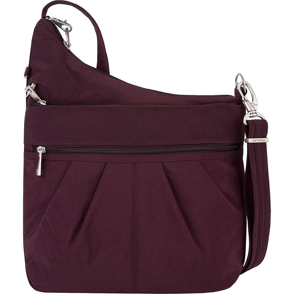 Travelon Anti-Theft Signature 3 Compartment Crossbody - Exclusive Colors Dark Bordeaux/Light Sand - Travelon Fabric Handbags - Handbags, Fabric Handbags