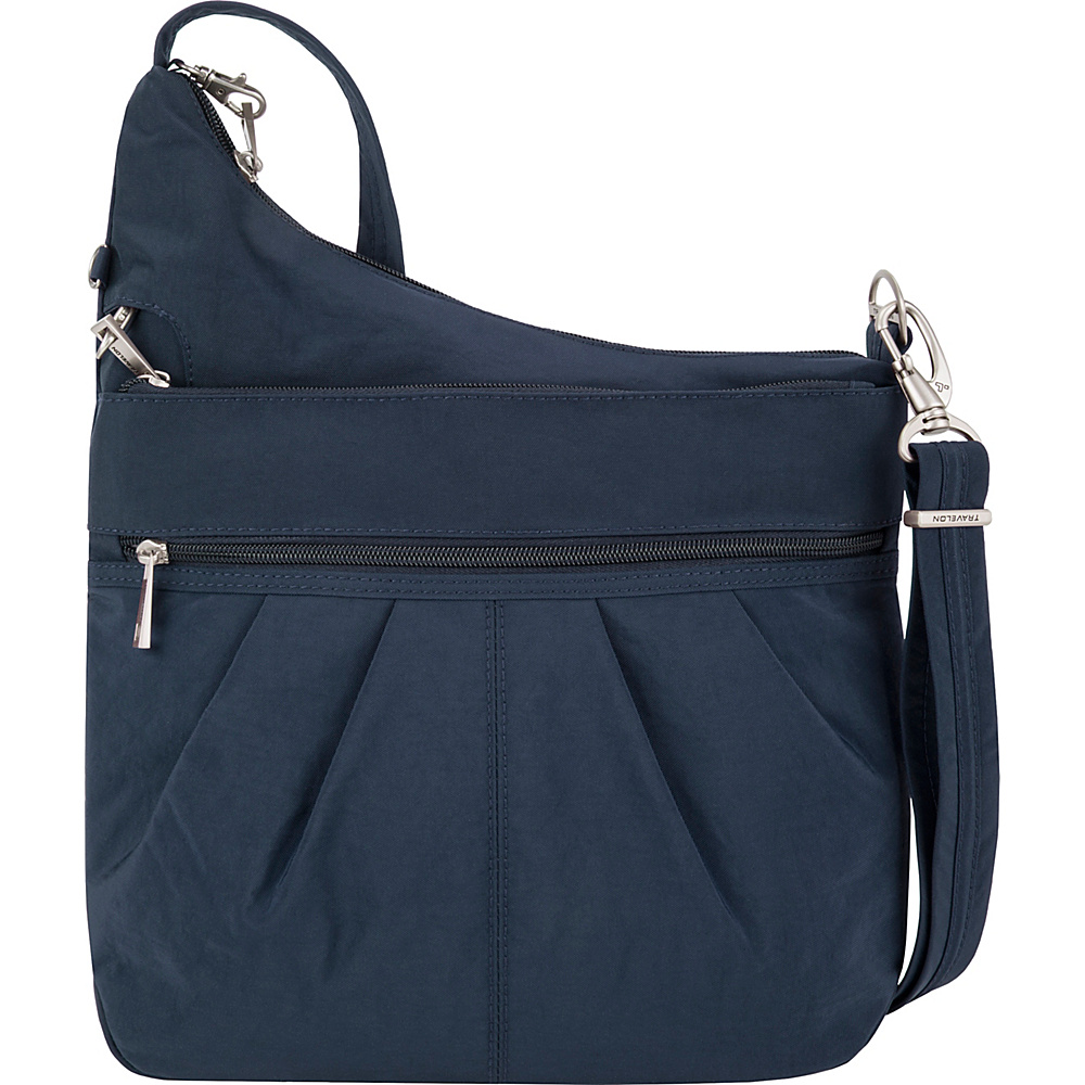 Travelon Anti-Theft Signature 3 Compartment Crossbody - Exclusive Colors Navy/Light Sand - Travelon Fabric Handbags - Handbags, Fabric Handbags