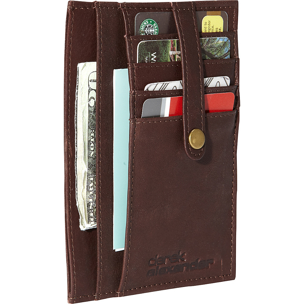 Derek Alexander Multi Pocket Double Side Card Holder Brown - Derek Alexander Mens Wallets - Work Bags & Briefcases, Men's Wallets