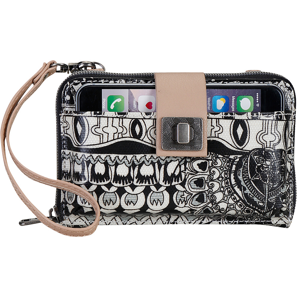Sakroots Artist Circle Smartphone Crossbody Black and White One World Sakroots Fabric Handbags