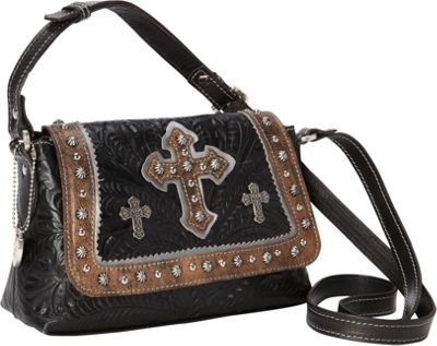 American West Cassidy Crossbody Flap Bag Black with Distressed Charcoal Brown and Grey - American West Leather Handbags