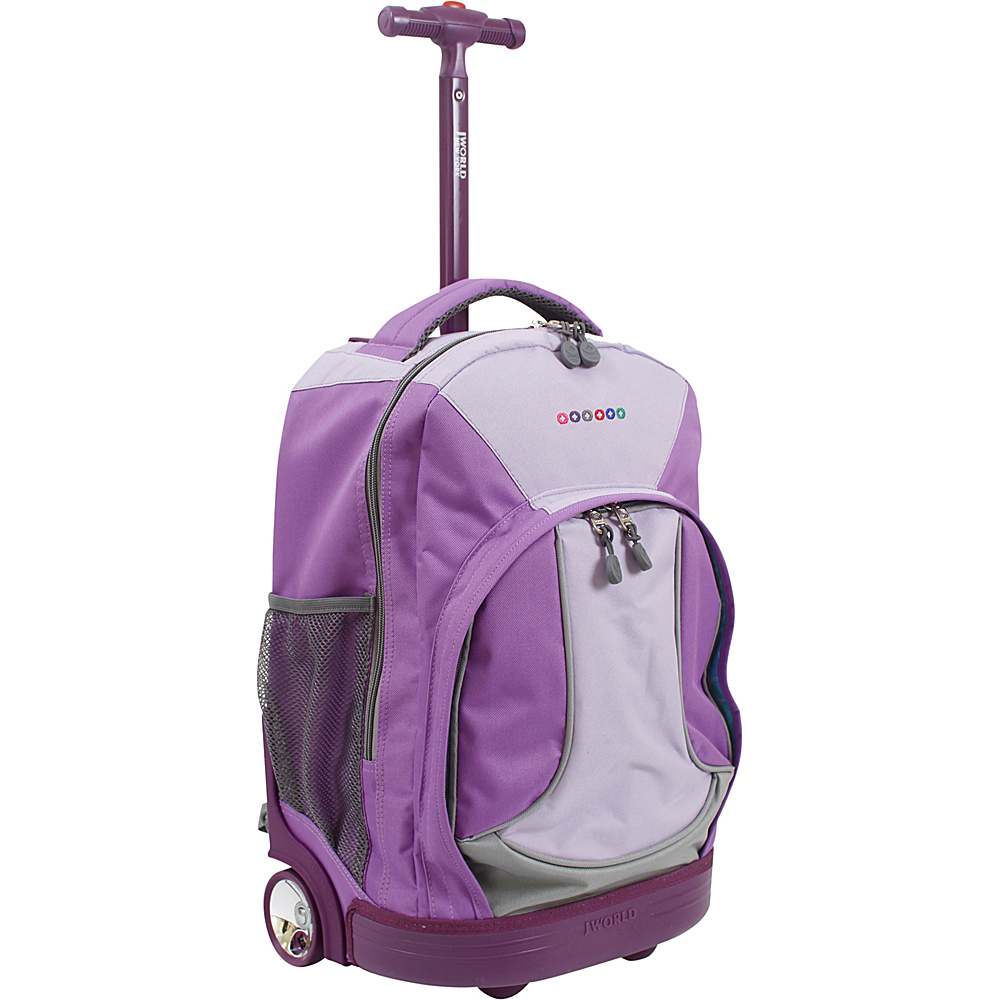 J World New York Sunday Rolling Backpack Purple J World New York Rolling Backpacks