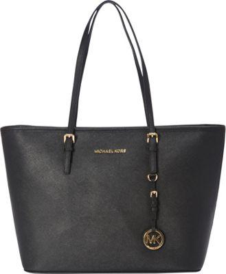 MICHAEL Michael Kors Jet Set Travel Top Zip Tote Black - MICHAEL Michael Kors Designer Handbags