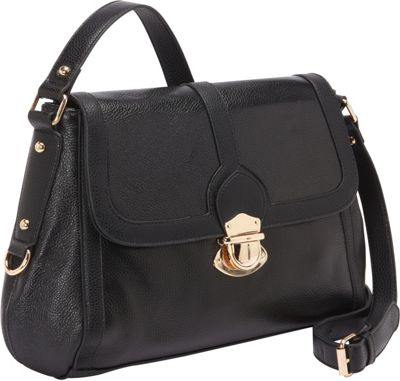 R & R Collections Large Shoulder Bag with Push Snap Closure Black - R & R Collections Leather Handbags