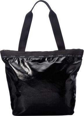LeSportsac Hailey Tote Black Crinkle Patent - LeSportsac Fabric Handbags