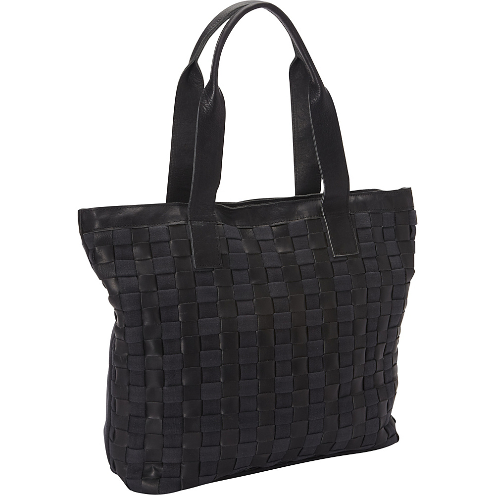 Sharo Leather Bags Leather Weave Tote with Black Canvas Black Sharo Leather Bags Leather Handbags
