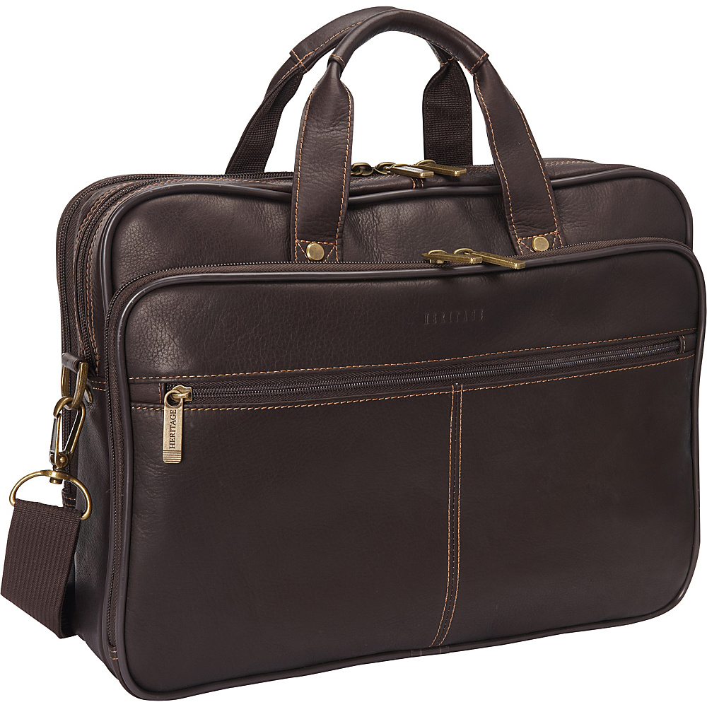 Heritage Colombian Leather Double Compartment Laptop Bag Brown Heritage Non Wheeled Business Cases