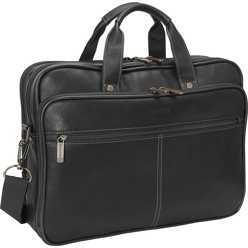 Heritage Colombian Leather Double Compartment Laptop Bag Black Heritage Non Wheeled Business Cases