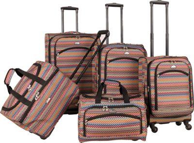 American Flyer Gold Coast 5-Piece Luggage Set Pink - American Flyer Luggage Sets