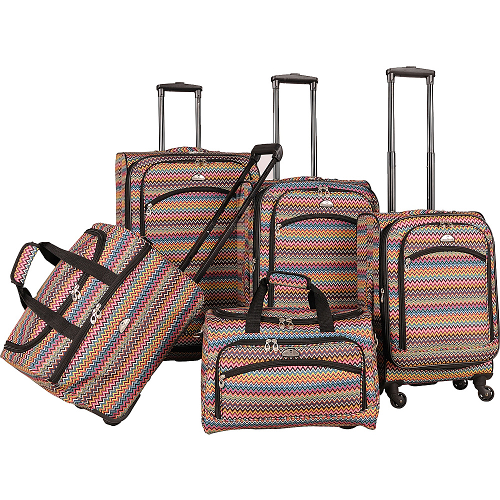 American Flyer Gold Coast 5-Piece Luggage Set Pink - American Flyer Luggage Sets