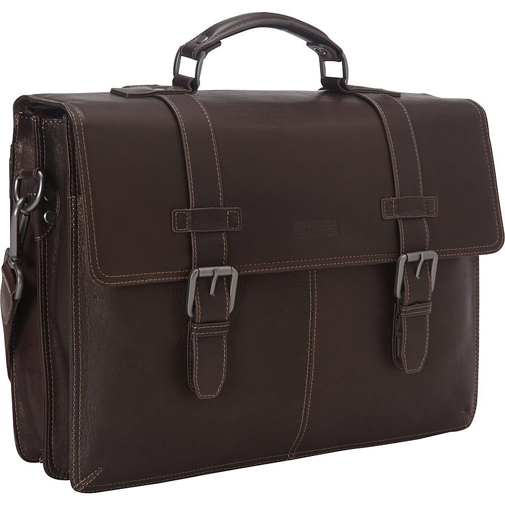 Kenneth Cole Reaction Flap py Go Lucky Laptop Briefcase Brown Kenneth Cole Reaction Non Wheeled Business Cases